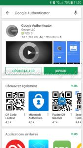 Google Authenticator 169x300 - [TUTORIEL] Double authentification avec Jeedom